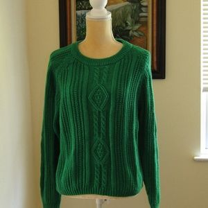 AMERICAN WEEKEND sweater green cableknit L vintage